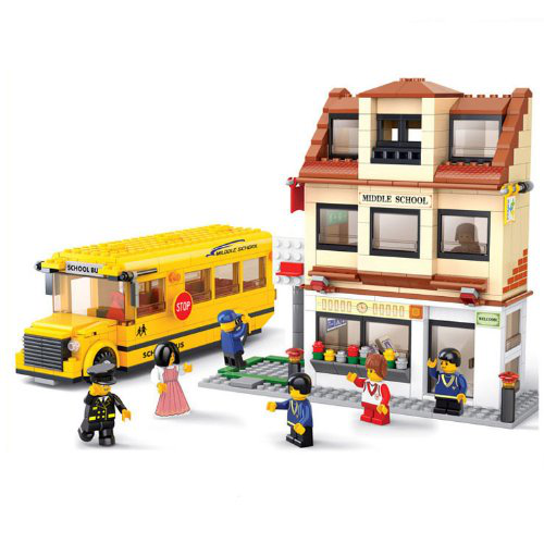 Middle School Bus Building Block Set